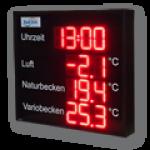 LED-Uhrzeit- und Temperaturanzeige DFY175-R-UHR-3xTEMP-ZS